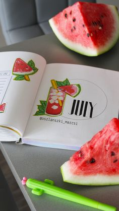 Watermelon stickers - Bullet Journal planner 2018 - July