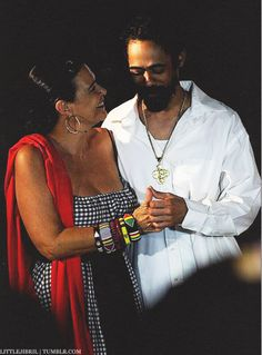 Damian Marley with his mother Cindy Breakespeare