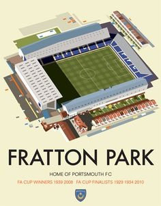 Schild Fratton Park, Home of Portsmouth FC in Hampshire, Grafikdruck East Urban Home Portsmouth City, Portsmouth England, Hampshire, Association Football, Poster Series, Football Stadiums, Park Homes, Arsenal Fc, Beautiful Places To Visit