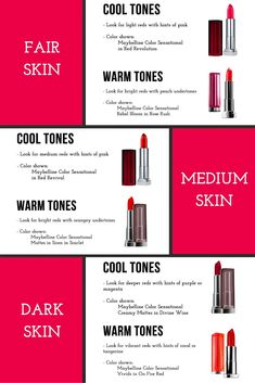 The trick to finding the perfect shade of red lipstick for fair, medium, or dark skin. This is one of the best makeup tip and tricks I have ever read!