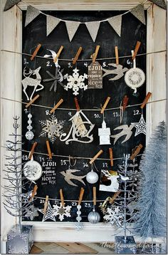 black background in this picture. Could cover window with wrapping paper of choice, use twine, and decorate with ornaments of your choosing.