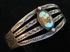 Fred Harvey Era Navajo 900 Silver Turquoise Bracelet
