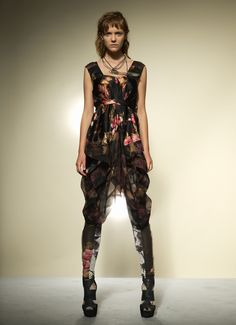 Tie Bleached Floral Silk Dress/   Bleached Floral Silk Legging