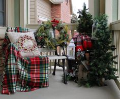 Ideas. Marvelous Terrace Christmas Outdoor Home Decor Integrate Charming Bench With Special Christmas Wreath Beside Fresh Small Christmas Tree Design Inspiration. Present the Christmas Spirits By Decorating Christmas Design For Outdoor