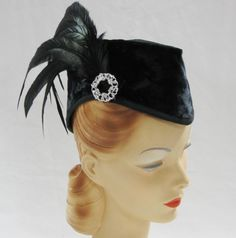 I think I could rock this!    Black WWII Style Hat Here's Looking at You Kid. $127.00, via Etsy.