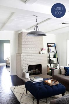 Family room - white, grey and navy colour palette