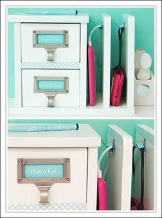 DIY charging station using desk organizer-great for teen girl room!