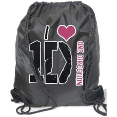 Amazon.com: I Love One Direction Personalized Large Drawstring Backpack Gym P.E. Swim Bag (Purple): Sports & Outdoors ($19) found on Polyvore featuring bags, backpacks, back packs, one direction and 1d