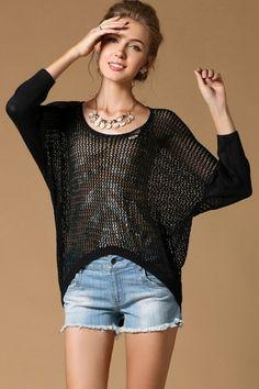 Loose Cutout Sweater OASAP.com