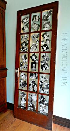 Display your old photos on a door and light it up with rope lights.  So cool! Redheadcandecorate.com #repurposed doors