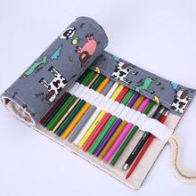 36/48/72 Delik Kawaii Hayvan Koyun Pony Piglet Ördek Tuval Kalem Kutusu Okul Malzemeleri Roll Up Kalem çanta Perde Sevimli Kırtasiye(China (Mainland))