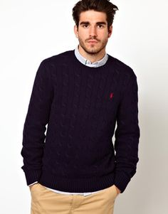 Image 1 of Polo Ralph Lauren Jumper in Cable Knit Crew Neck