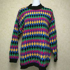 NWT Chaus Sport mock turtleneck sweater Colorful multi-color sweater in a cotton/ramie blend.  Beautiful winter sweater. Chaus Sweaters Cowl & Turtlenecks
