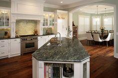 Verde Maritaca granite with white cabinets. LOVE this.