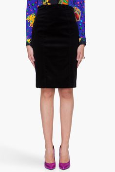 VERSACE Black Velvet Pencil Skirt (a favourite repin of VIP Fashion Australia - providing a portal to exclusive fashion au and style from across the globe.  www.vipfashionaustralia.com - Specialising in blacklabel fashion - womens clothing Australia - global fashion houses - Italian fashion and fashion boutiques )