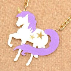 This glittery purple and white unicorn necklace is a fun and magical look. The purple and white unicorn necklace colored jewelry design shows a silhoutte. Glitter Unicorn, Purple Unicorn, Cute Unicorn, Cute Fashion, Kawaii Fashion, Colorful Fashion, Charm Jewelry, Jewelry Gifts, Jewellery