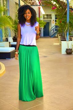 Muscle Tank + Pleated Maxi Skirt