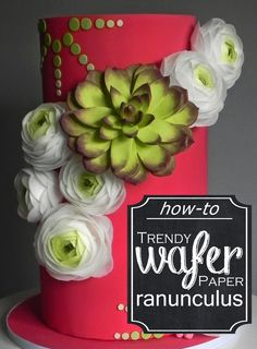 This is the first, the trendsetting, wafer paper ranunculus tutorial. Wafer flowers so light and ethereal you'll say goodbye to gunmpaste! Wafer Paper Flowers, Wafer Paper Cake, Sugar Flowers, Fondant Flowers, Cake Pop Tutorial, Paper Flower Tutorial, Cake Decorating Techniques, Cake Decorating Tutorials, Decorating Cakes