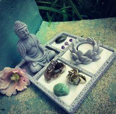 Available in the WEvolve Shop page.   High Vibration Large Crystal Zen Garden: Buddha figurine, lotus candle holder, sand, rake, pyrite cluster, Smokey quartz cluster, Amazonite tumbled stone, Labradorite tumbled stone, 3 small amethyst points. www.WEvolveBox.com