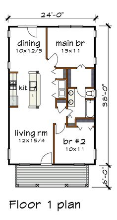 Bungalow Level One of Plan 75517