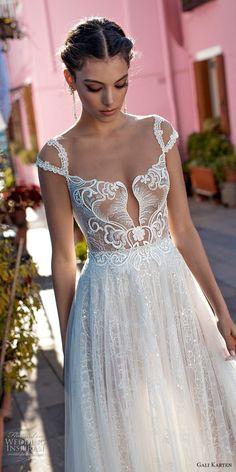 gali karten 2018 bridal cap sleeves scoop neckline heavily embellished bodice romantic soft a line wedding dress keyhole back medium train (2) zv