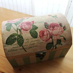 "Vintage style "" Paris roses"" wooden box medium -Keepsake, Trinket, Jewellery Box"