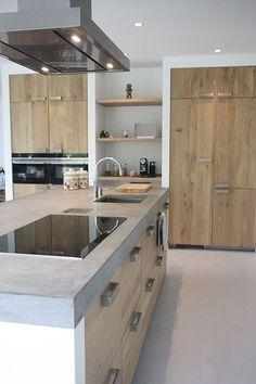 Idea cucina in muratura moderna con il top in resina, cassetti e ...