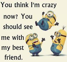 "Minion Quote | ""You think I'm crazy now? You should see me with my best friend."""
