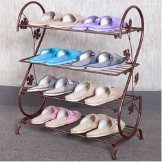AISHN Continental Iron Multi-layer Simple Shoe Rack Storage Metal Small Four Quarters Shoe Stand (Bronze) ** Awesome product. Click the image : Garden cart Iron Furniture, Steel Furniture, Furniture Design, Shoe Rack Living Room, Living Room Storage, Metal Shoe Rack, Diy Shoe Rack, Shoe Racks, Iron Gate Design