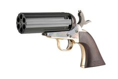 The Pietta 1851 Yank Pepperbox, Pietta is an Italian firearms company best known for producing replica cap and ball revolvers from the mid 19th century. In 2014 Pietta introduced this weird revolver, call the 1851 Yank Pepperbox. The pistol features the cylinder of a common pepperbox pistol mounted onto the frame of a Colt 1851 Navy revolver.