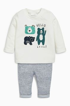 Acheter Blanc / Blue Bear Two Piece Jersey Set (0mths-2ans) de la boutique en ligne Next Royaume-Uni