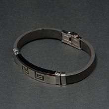 Αντρική χειροπέδα απο ατσάλι και καουτσουκ Κωδ.BRMAA0022EN 19,00 € Bracelets, Silver, Jewelry, Jewlery, Money, Bijoux, Schmuck, Jewerly, Bracelet