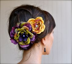 Autumn Carnival Flower hair clips in deep by TutusChicBoutique, $30.00    I love, love, love this look!