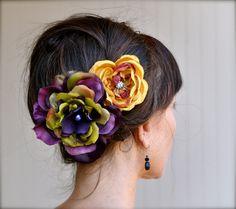 Carnevale fiore capelli clip nel profondo di TutusChicBoutique, $30.00