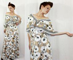 Vintage 70's Summer Poppy MAXI DRESS Off The Shoulder Summer Dress, $70.00