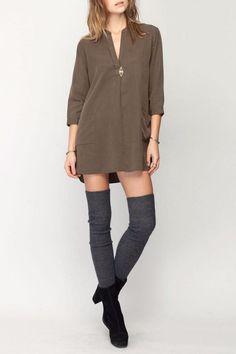 Low v neck 3 quarter length sleeve shirt dress.   Axel Shirt Dress by Gentle Fawn. Clothing - Dresses - Casual Canada