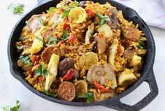 Family Style Vegetarian Paella in Cast Iron Pan. Vegetarian Paella, Vegetarian Main Meals, Mushroom Recipes, Veggie Recipes, Healthy Recipes, Healthy Food, Paella Recipe, Veg Dishes