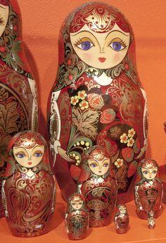 So many Russian nesting dolls! Photograph by Don Wang — Matryoshka Palekh Style.