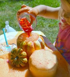 erupting potions in small pumpkins - halloweens science fun for kids