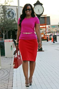 Love these colors together. Fuchsia top red skirt