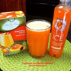 This dieter's share is one of my favorites! Prepare Ideal Protein Peach & Mango Drink Mix according to package directions. Pour into a large glass. Add desired amount of Peach Nectarine Sparkling Ice. Optional: add ice cubes. Enjoy!  http://www.sparklingice.com.