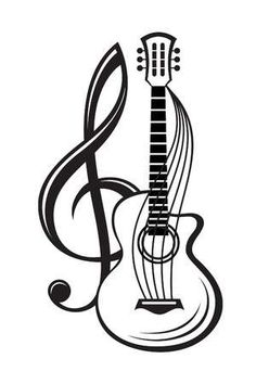 illustration of treble clef and guitar , monochrome illustration of treble clef and guitar ,monochrome illustration of treble clef and guitar , monochrome illustration of treble clef and guitar , Vinilo decorativo Clave de sol con teclas de piano Music Drawings, Music Artwork, Pencil Art Drawings, Art Drawings Sketches, Guitar Tattoo Design, Music Tattoo Designs, Music Tattoos, Music Designs, Music Silhouette