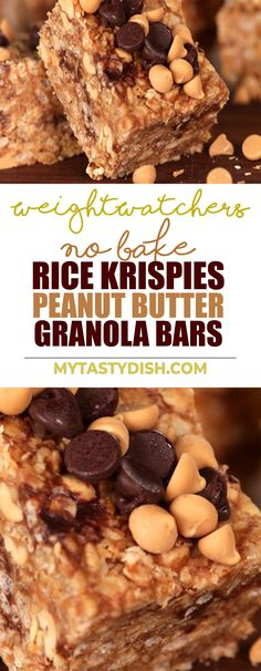 No-Bake Rice Krispies Peanut Butter Granola Bars come with 6 Weight watchers FreeStyle Smart Points #Weightwatchers #skinnytaste #smartpoints #freestyle