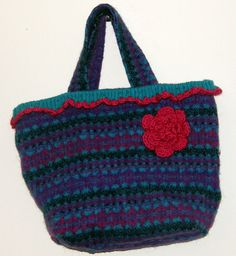 Densely Felted Turquoise Fuchsia Tote Bag by upcycledtotebags,