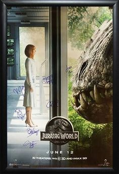 Jurassic World - Signed Movie Poster in Wood Frame with COA