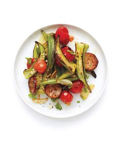 Get the recipe for Sautéed Tomatoes, Sausage, and Okra.
