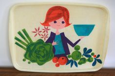 Oh lordy, this is actually a Tupperware tray. LOVE the imagery! Found this via http://www.vintage-family.net/2014/05/plateau-tupperware-d-apres-dina-t-annees-70-vintage.html
