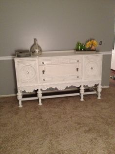my own DIY painted sideboard. Redone with Annie Sloan Chalk Paint in Pure White
