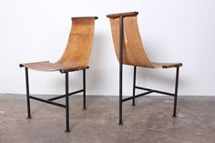 Set of Six Patinated Leather T-Chairs | From a unique collection of antique and modern dining room chairs at https://www.1stdibs.com/furniture/seating/dining-room-chairs/