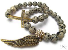 Dalmation Jasper Gemstone Sideways Cross Beaded Stretch Bracelet Set.- WING AND A Prayer. $40.00, via Etsy.
